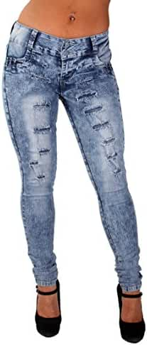 Style G675– Colombian Design, Butt Lift, Levanta Cola, Ripped Skinny Jeans