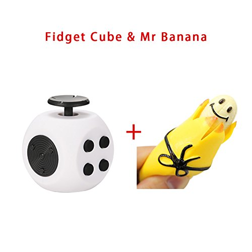 RGTOPONE Relieve Stress Set Squeeze Banana Key Chain with Enhanced Fidget Cube Toy Anxiety Relief Focus Attention for Office School Travel Adults Teens