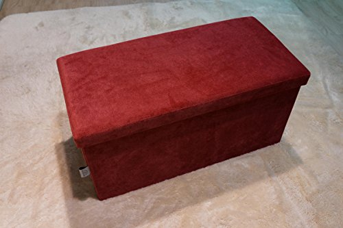 Ointime Storage Strong and Sturdy Ottoman Bench Corduroy Foldable Waterproof Quick and Easy Assembly Red Footstool 30x15x15'' Toy and Shoe Chest Versatial Space-Saving