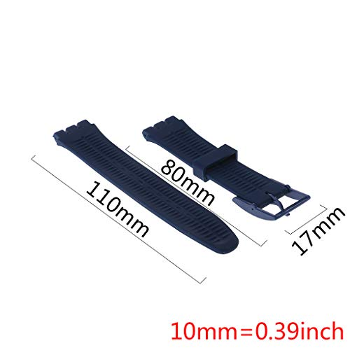 huanban072 Silicone Rubber Watch Band Strap Waterproof Wristband Buckle Watchband for Swatch 17mm Replacement Accessories (White) by huanban072 (Image #1)