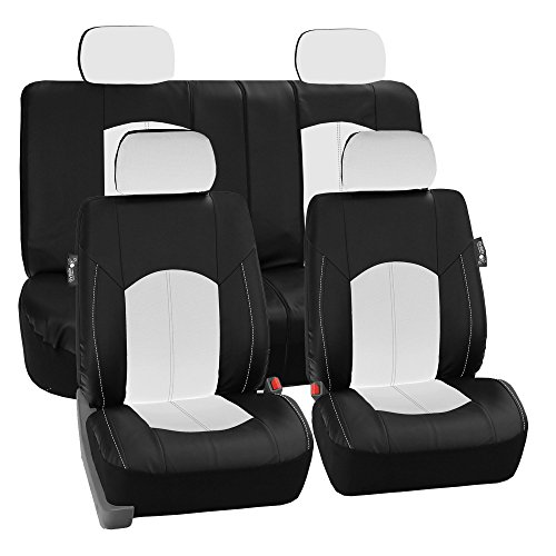 LIMITED TIME ONLY 30% OFF: FH GROUP FH-PU008114 Perforated Leatherette Full Set Car Seat Covers, (Airbag & Split Ready), White / Black Color- Fit Most Car, Truck, Suv, or Van