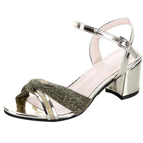 Sandalias Mujer Tacon, Culater Zapatos Moda Verano, Polipiel y Goma Gold