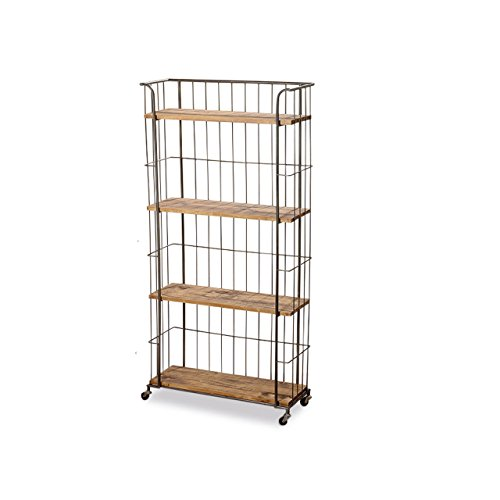 Whole House Worlds The Urban Chic Rolling Rack with 4 Shelves, Wheels, Metal and Wood, Approx. 5 ft Tall (59 Inches – 150 cm) By For Sale