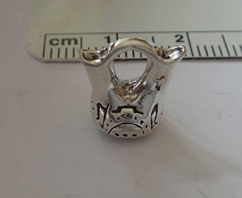 Vase Sterling - Sterling Silver 3D 11x10x6mm Double Indian Wedding Vase Pottery Charm Jewelry Making Supply, Pendant, Charms, Bracelet, DIY Crafting by Wholesale Charms