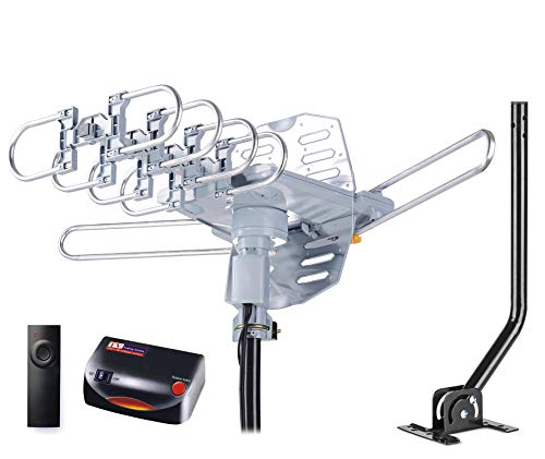 pingbingding HDTV Antenna Amplified Digital Outdoor Antenna with Mounting Pole & 40FT RG6 Coax Cable--150 Miles Range--360 Degree Rotation Wireless Remote--Snap-On Installation Support 2 TVs (Best Long Range Attic Tv Antenna)