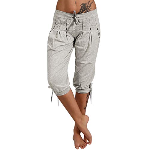 Tan Short Set - Botrong Womens Shorts Fashion Summer Bowknot Capri Baggy Harem Pants with Drawstring (Gray,XL)