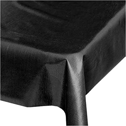 Oilcloth Table Cloth   Black (48 X 48)