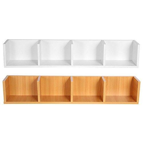 Modern Wood Wall Mount CD DVD Media Rack Holder Storage 4 Unit Shelf Organizer