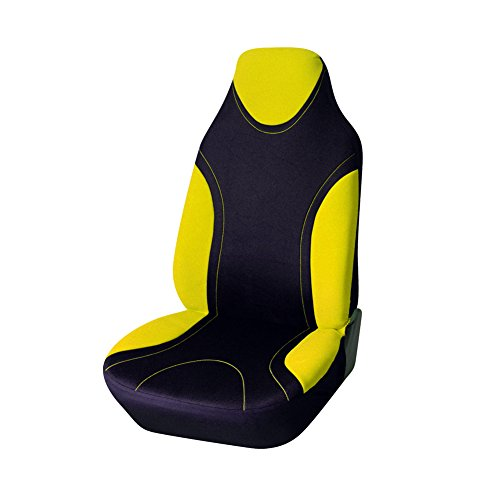 AUTOYOUTH 1PC Racing Style Integrated Front Bucket Seat Cover Flat Cloth Two Tone Colors(Yellow/Black) Auto Accessories Universal Fits for Most Cars, SUV, Truck