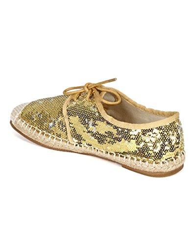 Nature Breeze Women Sequinned Fabric Espadrille Capped Toe Lace Up Flat CA76 - Gold (Size: 7.5) by Nature Breeze (Image #2)