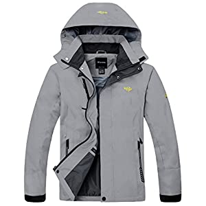 Wantdo Men's Windproof Hooded Cycling Jacket With Water resistant zipper Grey US S