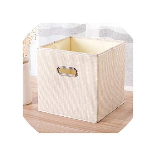 Cube Portable Folding Home Supplies Clothing Underwear Socks Organizer and Kids Toys Storage Basket Cosmetics Storage Box Bins,27X27X27Cm,Xinpin-Ygb-Mi