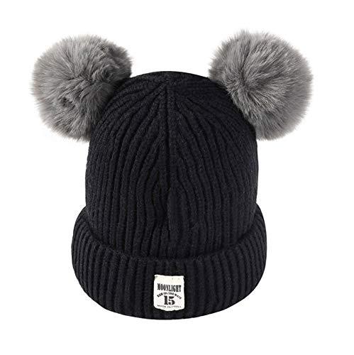 Multicoloured Kids Baby Toddler Winter Warm Hat Childrens Thick Stretchy Braided Crochet Beanie Cap (Black)