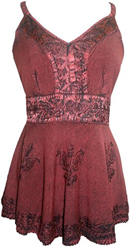 [121 B Agan Traders Gypsy Vintage Top Blouse (XL / 1X, Burgundy)] (Gypsy Clothing Costume)