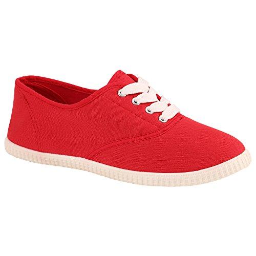 Stiefelparadies Damen Sneaker Low mit Plateau Metallic Zipper Flandell Rot Weiss