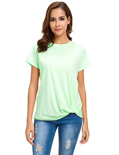 - MSHING Women's Casual Round Neck Short Sleeve Tie Up T-Shirt Blouse Comfortable Cotton Basic Tops Light Green