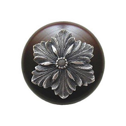 Notting Hill Decorative Hardware Opulent Flower Wood Knob, Antique Pewter, Dark Walnut wood finish