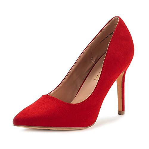 DREAM PAIRS Women's Christian-New Red Suede High Heel Pump Shoes - 8.5 M US