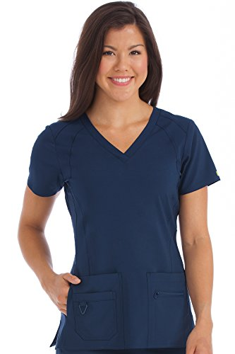 Med Couture Activate Women's V-Neck Racerback Scrub Top, Navy, X-Small from Med Couture