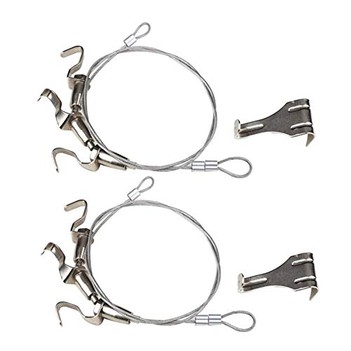 CGMJ Pack of 2 Art Exhibition Hanging System Gallery Professional Adjustable Picture Hanging Hook (2M Wire Rope with 3 Hook) (Silver Gallery Wire)