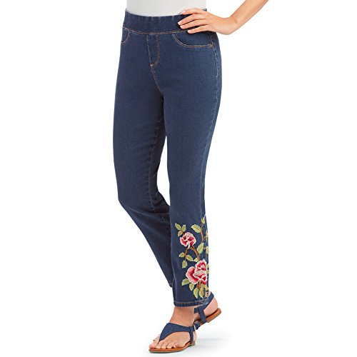 - Women's Floral Rose Embroidered Pull-On Denim Ankle Pants with Elastic Waistband and Faux Front Pockets, Indigo Blue, Large