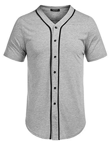 COOFANDY Men's Short Sleeve Baseball Jersey Button Down Shirt Hip Hop Tee Grey