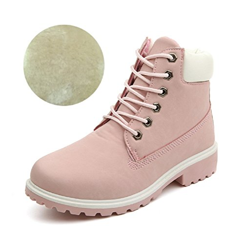 LOVEBEAUTY Women's Lace Up Low Heel Work Combat Boots Waterproof Ankle Bootie Pink(Fur) US 7