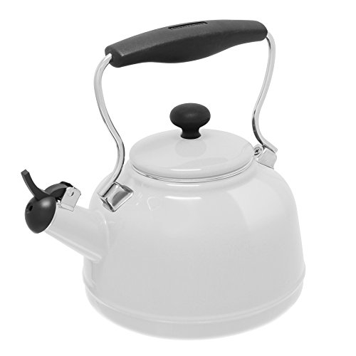 Chantal 37-VINT WT Enamel on Steel Vintage Teakettle, 1.7 quart, White
