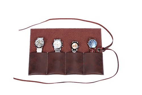 Leather Traveler Case (Handmade Leather Travel Watch Roll Organizer Traveler's Portable Jewelry Case Bag Holds Up To 4 Watches Navy (GJB12-brown))