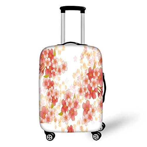 Travel Luggage Cover Suitcase Protector,Floral,Japanese Sakura Flowers Cherry Blossoms in Vibrant Colors Illustration,Coral Dark Coral Yellow,for Travel (Rockford Cherry)