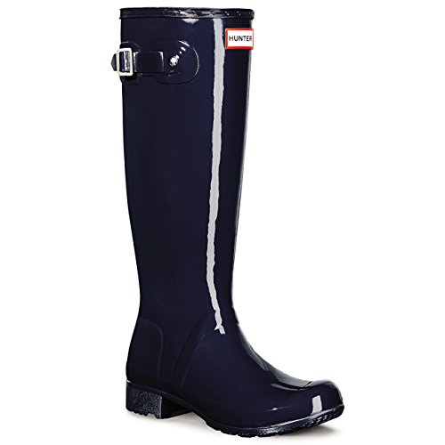Hunter Womens Original Tour Gloss Wellies Wellingtons Snow Rainboots - Navy - 8 by Hunter