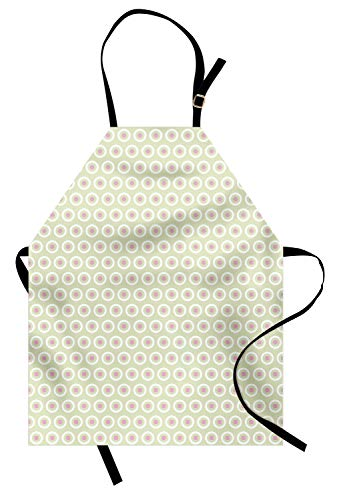 Lunarable Geometric Apron, Circles with Polka Dots on Pale Green Background Tile Pattern, Unisex Kitchen Bib Apron with Adjustable Neck for Cooking Baking Gardening, Pale Green Baby Pink and White ()