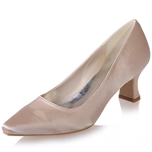 Clearbridal Women's Satin Low Heel Pointed Toe Wedge Heel Wedding Bridal Court Shoes For Evening Prom Party ZXF0723-01 Champagne SXZJu