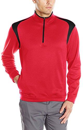 PGA TOUR Men's Golf Performance 1/4 Zip Pullover Color Block Tech Fleece Jacket, Chili Pepper, Medium
