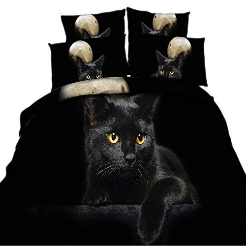 EsyDream 3D Oil Painting Black Cat Kids Love Bedding Sets 4P