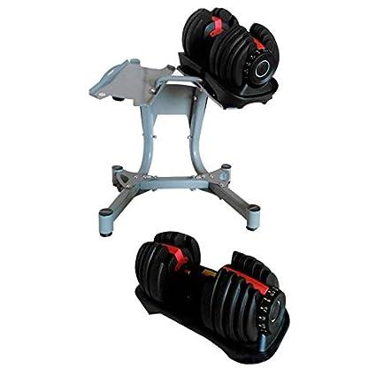 CDW Juego de mancuernas tipo Bowflex ajustables 24kgs con soporte