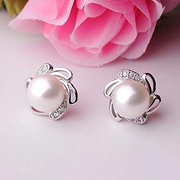 Pink Fashion Jewelry Pearl Earrings for Women Pearl Jewelry Pearl with 925 Sterling Silver Earrings,Stud Earrings Flowers Pearl Earring