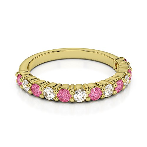 Or jaune 18 carats 0.24 CT G-H/VS Certifié Coupe ronde Tourmaline Rose et diamants Agdr-1114
