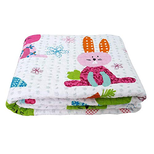 (Abreeze Lovely Rabbit Reversible Bedding Coverlet Quilt Bedspread Throw Blanket for Kids Cotton 43
