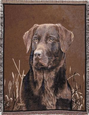 Simply Home Chocolate Labrador Retriever Dog Deluxe Full-Size Tapestry Blanket Throw SKU TP820