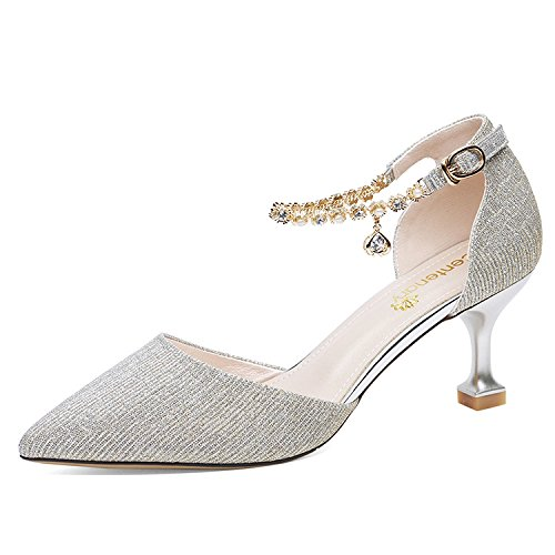 Sandals Strap Pointy For Party Dress High Women Daily Shoes Ladies Gold Heels Buckles Ankle Sandals Summer Court Pumps 70w5Rx5I