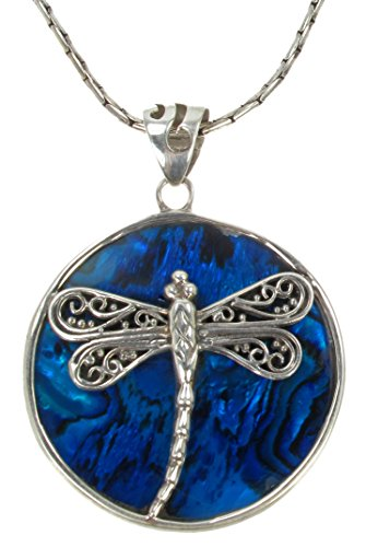 """925 Antiqued Sterling Silver Paua Shell Mother of Pearl Inlay Dragonfly Pendant Necklace, 24"""" Long"""