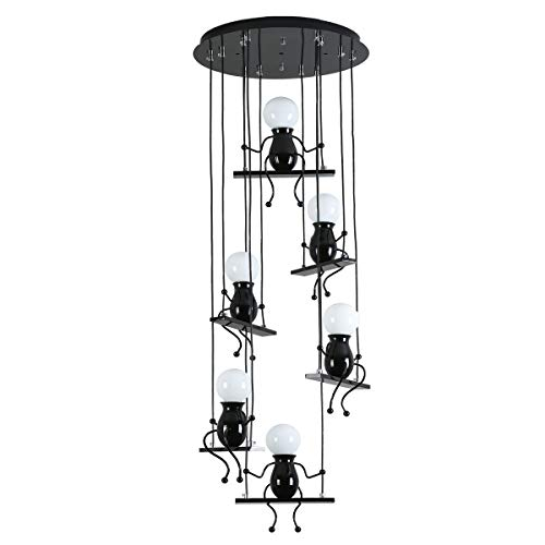 Creative LED Pendant Lighting Modern Little People Ceiling Pendant Light Fixture Adjustable Hanging Lights Kitchen Island Decor Iron Cartoon Doll Chandeliers Bedrooms 6×E26 (Black, Round Plate) ()