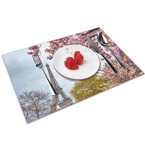 Politeey Tour Eiffel Tower in Paris During Spring Blossom Season Placemat for Dining Table,Washable Cross-Weave Non-Slip Insulation Placemat Vinyl Table Mat Set of 4(12x18 Inch)
