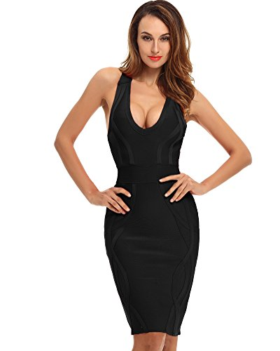 Whoinshop Women's Deep V Neck Criss Cross Back Celebrity Bodycon Bandage Dress (XL, Black-2)