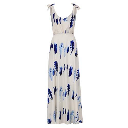 Pengy Women's Boho Dress Casual Long Maxi Skirt Ladies Cocktail Party Evening Summer Beach Sundress Blue ()