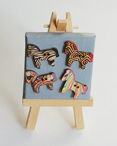 (Horse Shaped Wooden Button Magnet - Set of 8)