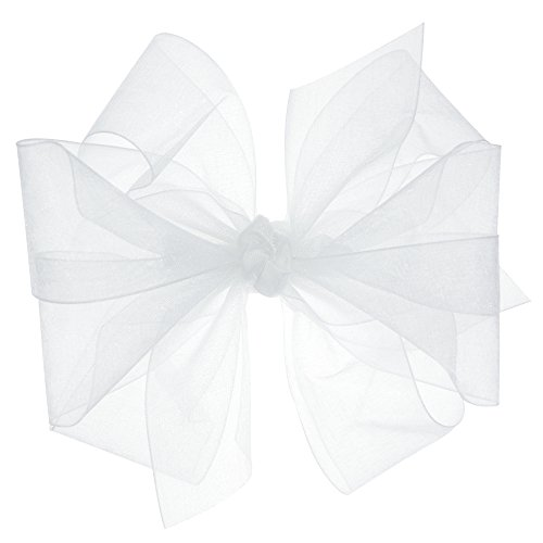 Wee Ones Baby Girls' Medium Classic Organza Double Hair Bow on Barrette - White
