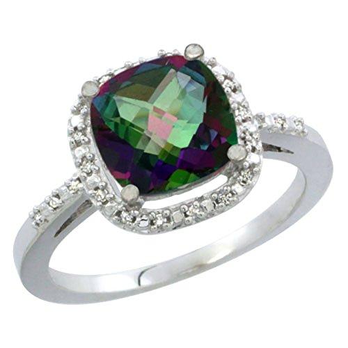 al Mystic Topaz Ring Cushion-cut 8x8mm Diamond Accent, size 6 (14k Mystic Topaz Ring)