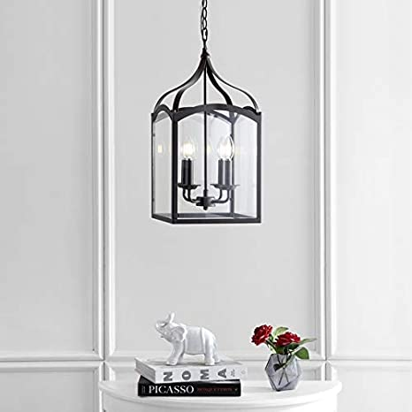 fe21d7208f2 Image Unavailable. Image not available for. Color  Ruth 11 quot  4-Light  Lantern Metal Glass LED Pendant
